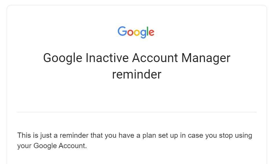 Google Account Inactivity Reminder