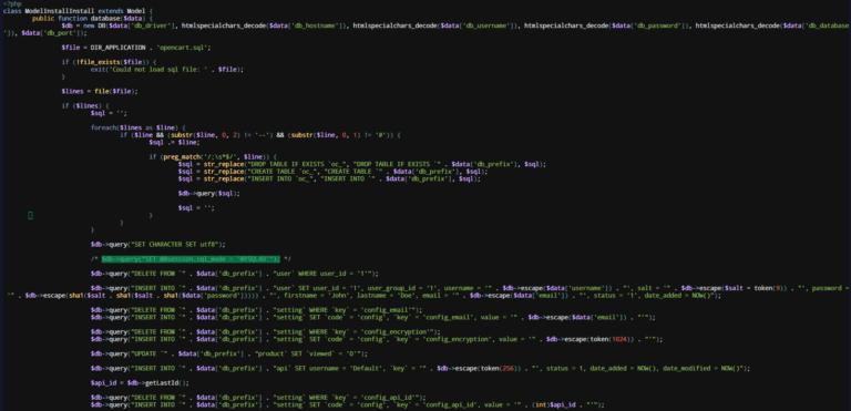Грешка SET @@session.sql_mode = 'MYSQL40' при инсталация на OpenCart 3+ върху сървър с MySQL 8