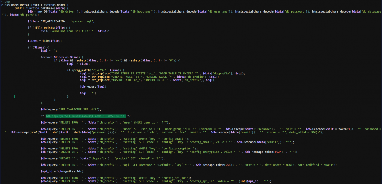Грешка session.sql_mode = 'MYSQL40' при инсталиране на OpenCart 3 на сървър с MySQL 8