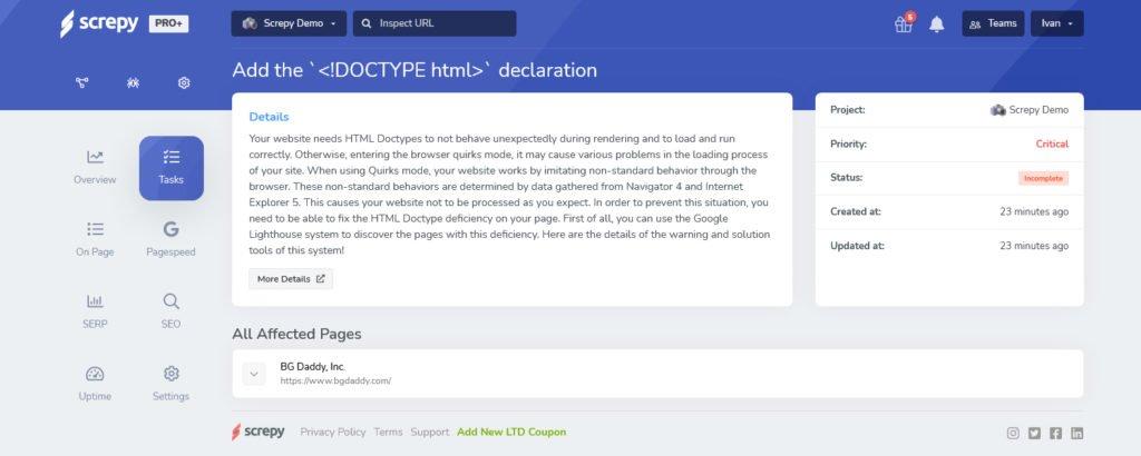 Screpy табло: DOCTYPE declaration