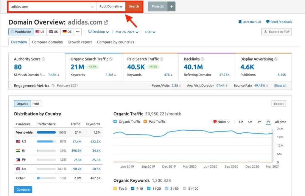 Справка Semrush Domain Analytics